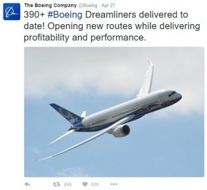 Twitter Profile Boeing